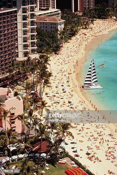 USA, Hawaii, Oahu, Waikiki Beach,  beach and hotels, aerial view