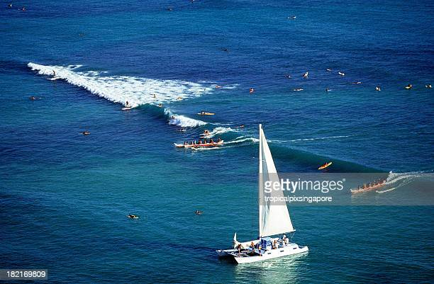 usa hawaii o'ahu, waikiki. - catamaran stock photos and pictures