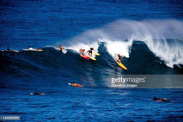 Hawaii Oahu Waimea Bay Surfers