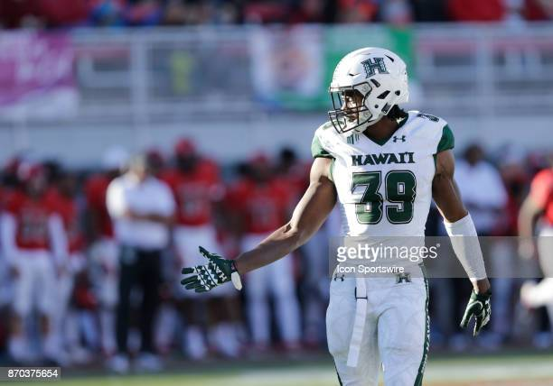 Hawaii safety Trayvon Henderson looks at the sideline during a game against Hawaii on November 04 at Sam Boyd Stadium in Las Vegas Nevada The UNLV...
