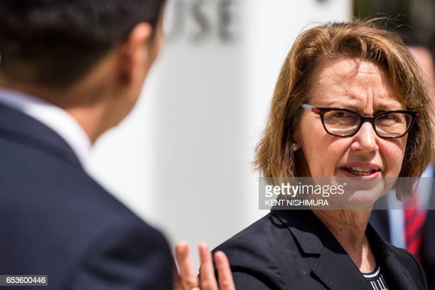 Hawaii State Attorney General Douglas Chin and Oregon Attorney General Ellen Rosenblum speak at a press conferenceat a press conference in front of...