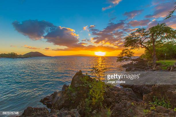 hawaii sunset from the beach - lanai stock photos and pictures