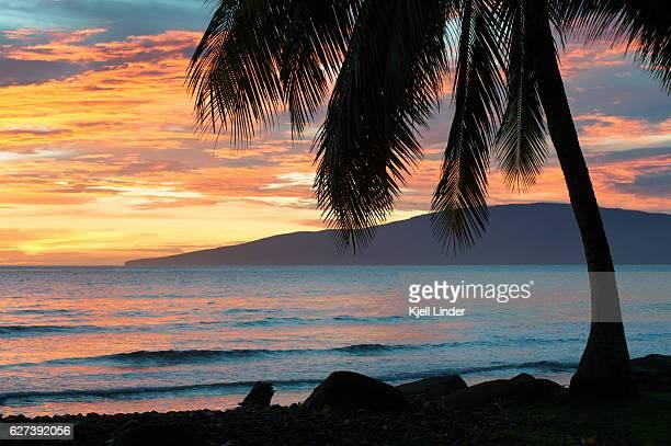 hawaii sunset over olowalu - lanai stock photos and pictures