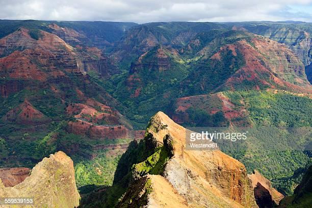usa, hawaii, waimea, view from waimea canyon lookout, waimea canyon state park - waimea canyon stock pictures, royalty-free photos & images
