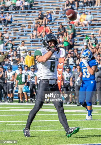 Hawaii Warriors wide receiver John Ursua celebrates his downfield catch during the game between the Hawaii Warriors and the San Jose State Spartans...