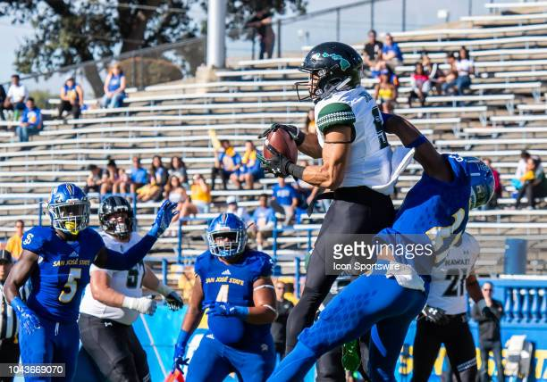 Hawaii Warriors wide receiver John Ursua secures a catch during the game between the Hawaii Warriors and the San Jose State Spartans on Saturday...