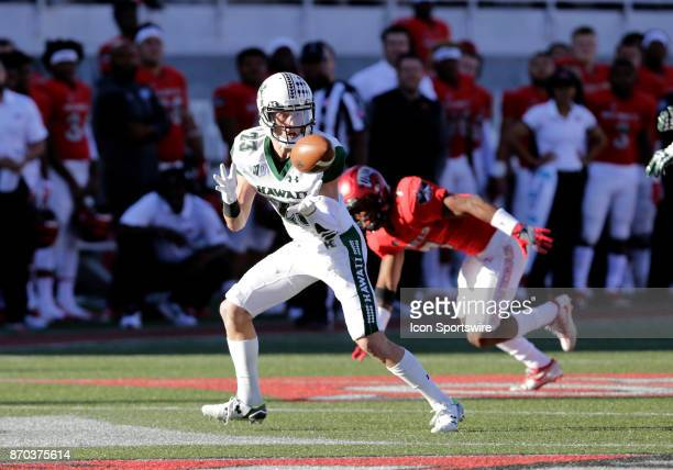 Hawaii wide receiver Dylan Collie looks to catch a pass during a game against UNLV on November 04 at Sam Boyd Stadium in Las Vegas Nevada The UNLV...
