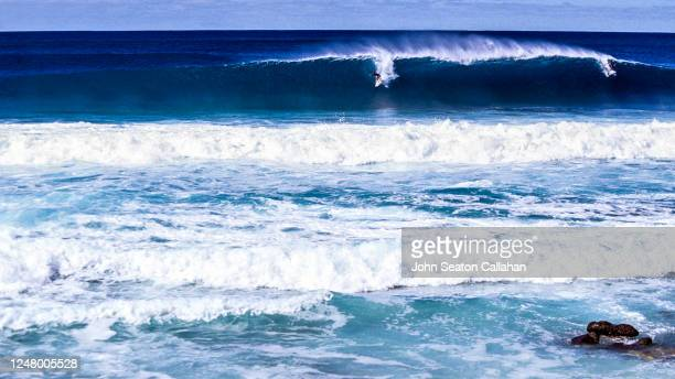 usa, hawaii, winter surfing at ehukai beach park - category:census-designated_places_in_honolulu_county,_hawaii stock pictures, royalty-free photos & images