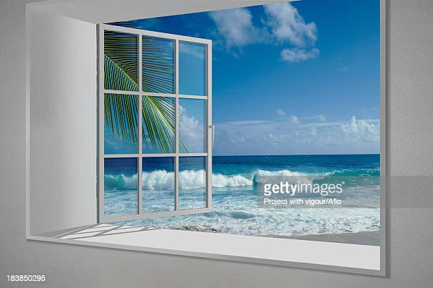 hawaiian beach view from white window - erker stockfoto's en -beelden