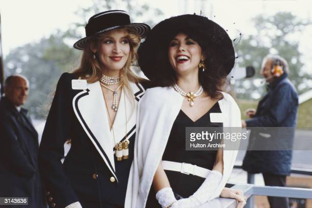Hawaiian born model Marie Helvin with the American model and wife of Mick Jagger Jerry Hall at Royal Ascot