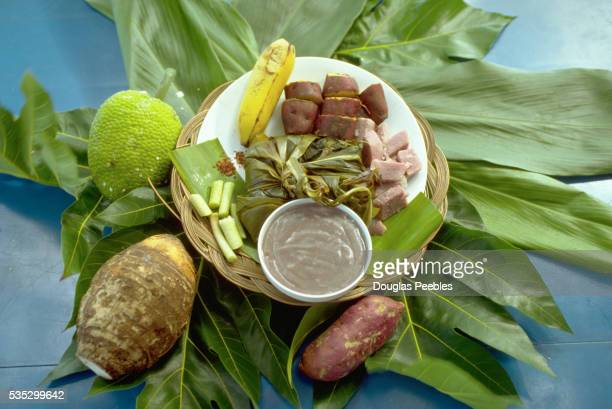 hawaiian food plate with breadfruit and poi - poi_(food) stock pictures, royalty-free photos & images