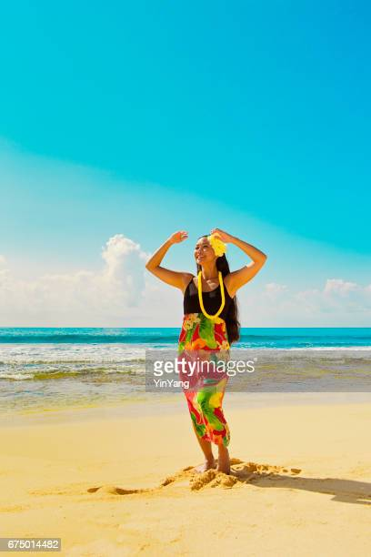 Hawaiian Hula Dancer Dancing on the Beach