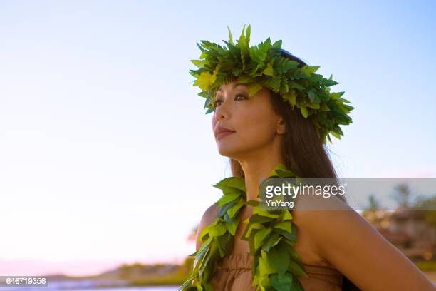 Hawaiian Hula Dancer Looking Out to Sea
