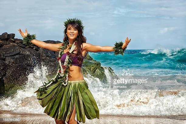 hawaiian hula dancer on beach - beautiful polynesian women stock photos and pictures