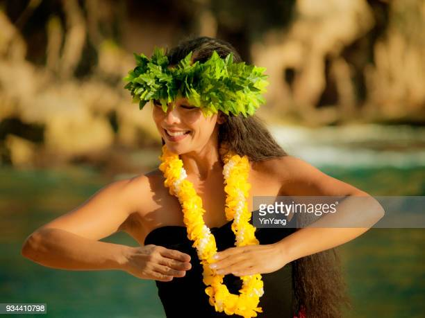hawaiian hula dancer on the beach of kauai - hawaiian lei stock pictures, royalty-free photos & images