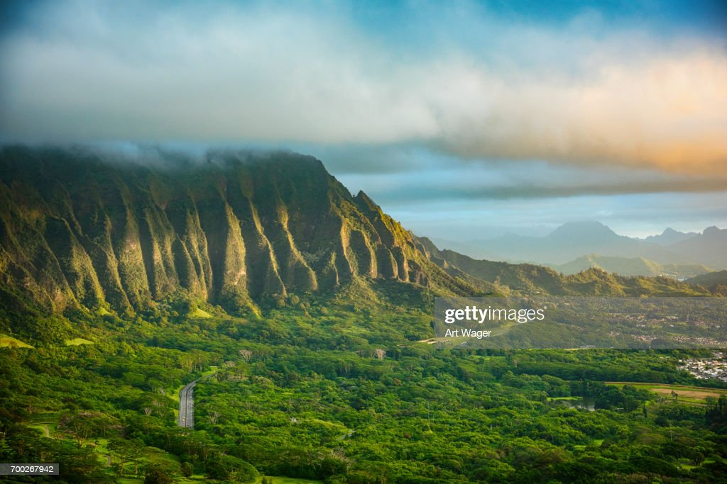 Hawaiian Landscape At Dawn High Res Stock Photo Getty Images