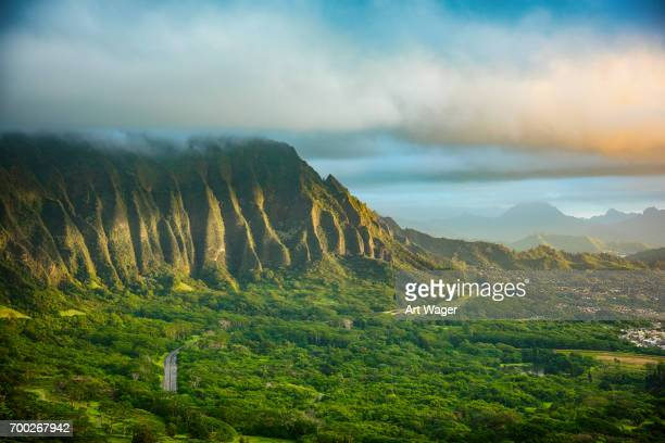 hawaiian landscape at dawn - oahu stock pictures, royalty-free photos & images