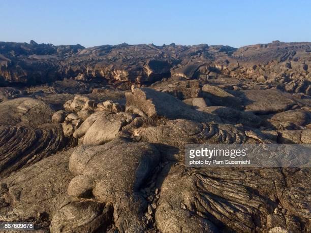 hawaiian lava field - lava plain stock pictures, royalty-free photos & images