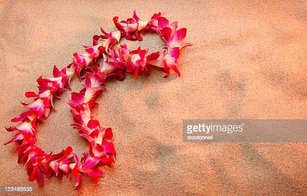 hawaiian lei on the beach