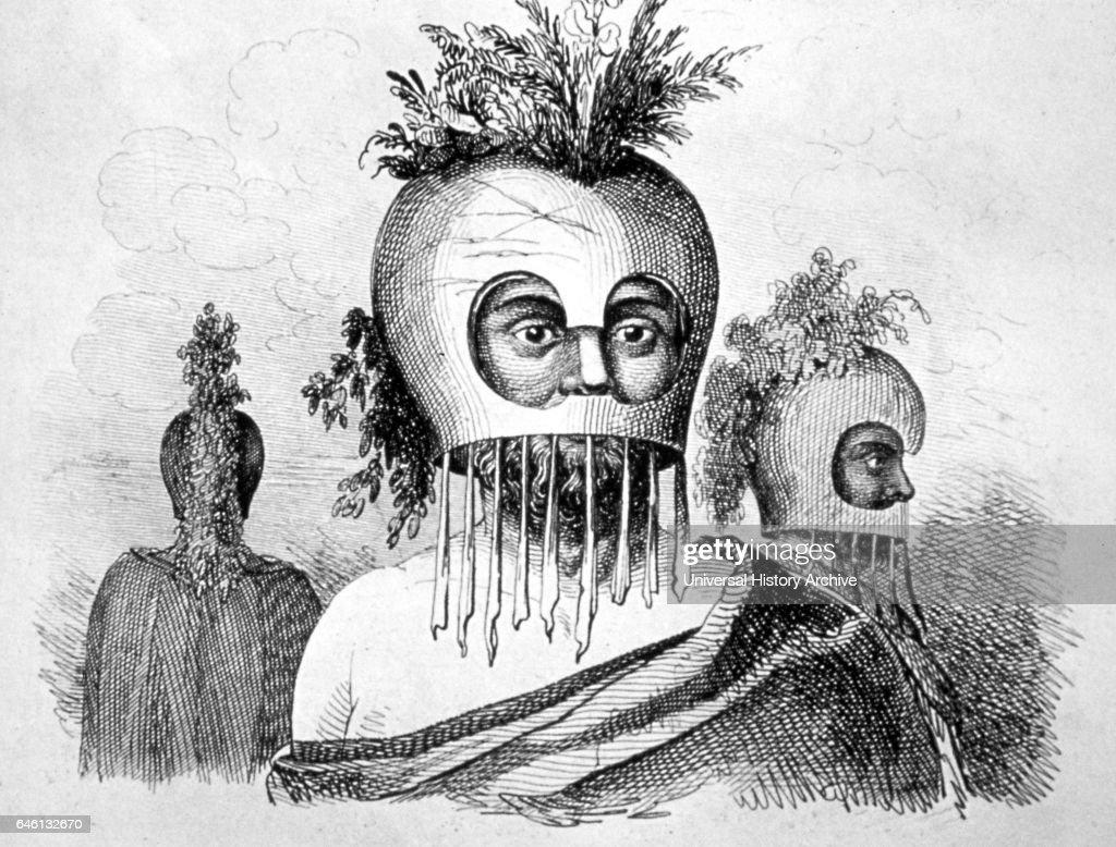 Hawaiian native in ceremonial masks