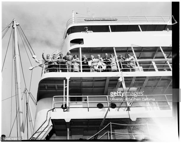 Hawaiian Pilot' freighter chartered for pleasure cruise 16 May 1952 Frank T ReganRussell CombsCaptain Hans MatthiesonMrs PH GermaineMrs Emma...