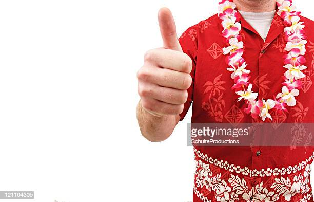 ハワイのレイの男性親指アップシャツ