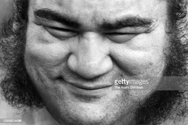 Hawaiian sumo wrestler Takamiyama is seen during the Asahi Shimbun interview at Takasago Stable on September 25, 1976 in Tokyo, Japan.