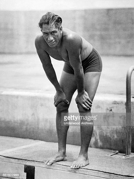 Hawaiian swimming champion Duke Kahanamoku working out in preparation for the 1932 Olympics in Los Angeles which were to be his fifth and final...