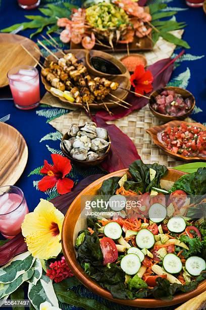 Hawaiian table setting with food
