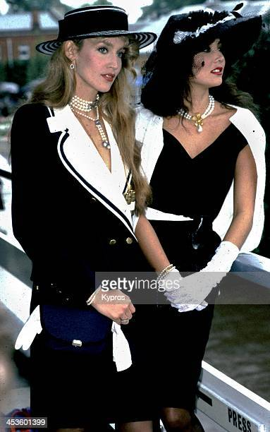 Hawaiianborn model Marie Helvin with the American model and wife of Mick Jagger Jerry Hall at Royal Ascot UK 1982