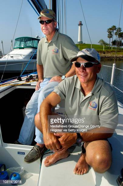 7/13/05 Hawaiians Dan Doyle left and Bruce Burgess aboard their boat 2 Guys on the Edge at Rainbow Harbor in Long Beach Calif on July 13 2005 The two...