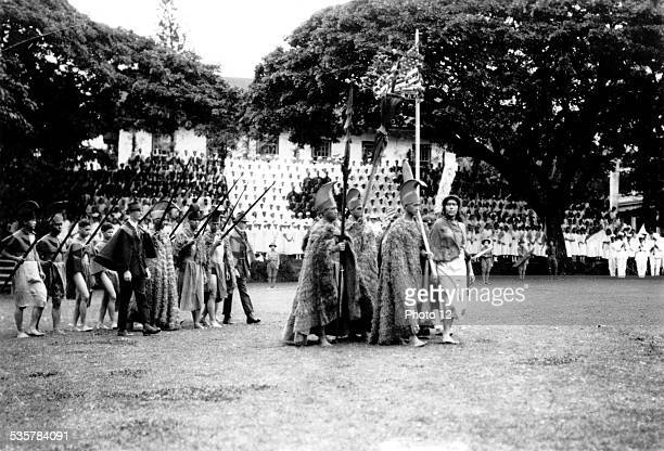 Hawaiians parading with an American flag 20th century United States Washington Library of Congress