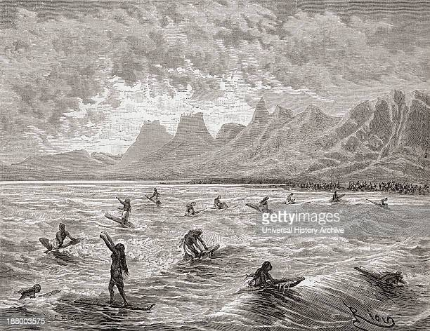 Hawaiians Surfing In The 19Th Century After A Drawing By Charles Victor Crosnier De Varigny 1829–1899 French Adventurer Diplomat And Writer During...
