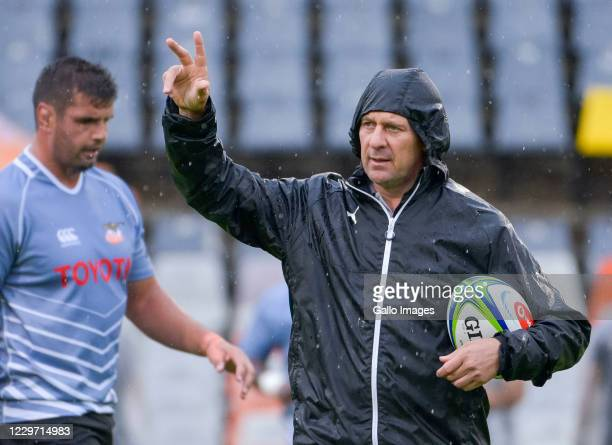 Hawies Fourie Head Coach of Toyota Cheetahs during the Super Rugby Unlocked match between Toyota Cheetahs and Tafel Lager Griquas at Toyota Stadium...