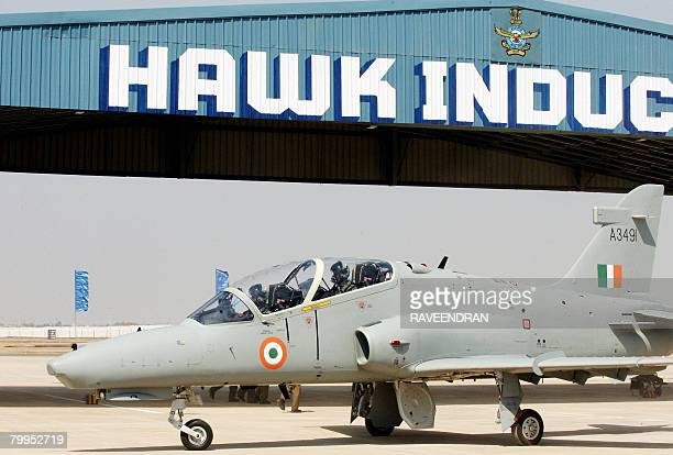 Hawk Advanced Jet Trainer aircraft is readied for takeoff during the induction ceremony at Bidar Air Force Station some 150 Kms from Hyderabad on...
