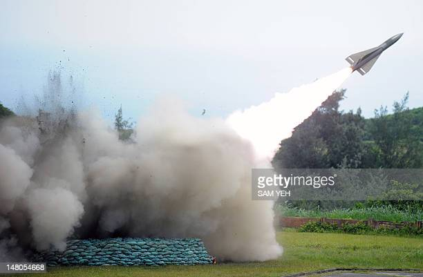 A Hawk groundtoair missile is launched during a livefire military missile drill at a military base in Chiupeng in Taiwan's southern Pingtung county...