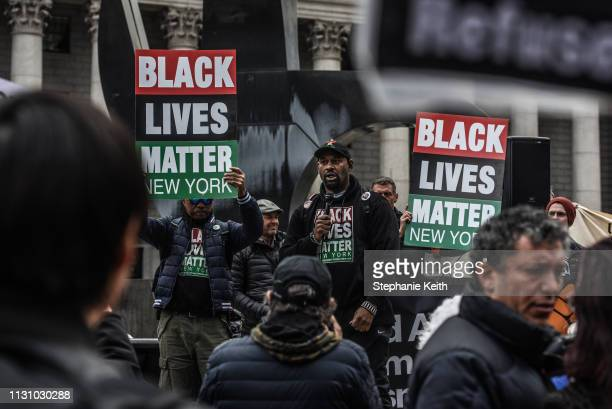 Hawk Newsome a leader in the Black Lives Matter movement speaks during a rally against fascism on March 16 2019 in New York City New York City is one...