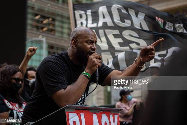 Hawk Newsome President of Black Lives Matter of Greater New York in Times Square for a demonstration to announced their plan to enact Law Enforcement...