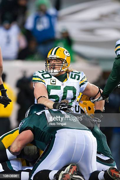 J Hawk of the Green Bay Packers defends against the Philadelphia Eagles in the 2011 NFC wild card playoff game at Lincoln Financial Field on January...