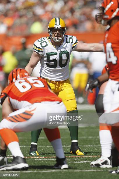 J Hawk of the Green Bay Packers lines up at the line of scrimmage during the game against the Cincinnati Bengals at Paul Brown Stadium on September...