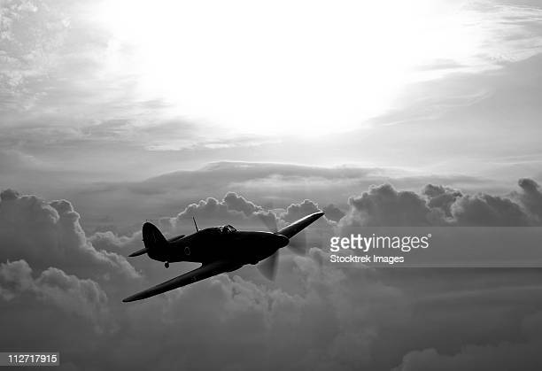 A Hawker Hurricane aircraft in flight over Galveston, Texas.