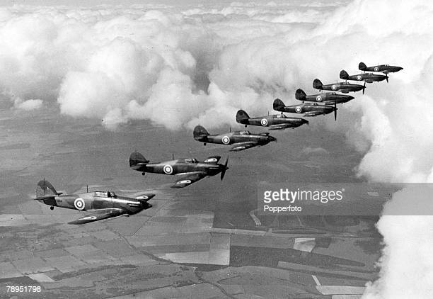 circa 1940 Hawker 'Hurricane' planes from no111 squadron based at Northolt in flight The Hawker 'Hurricane' the work of Sydney Camm was the first...