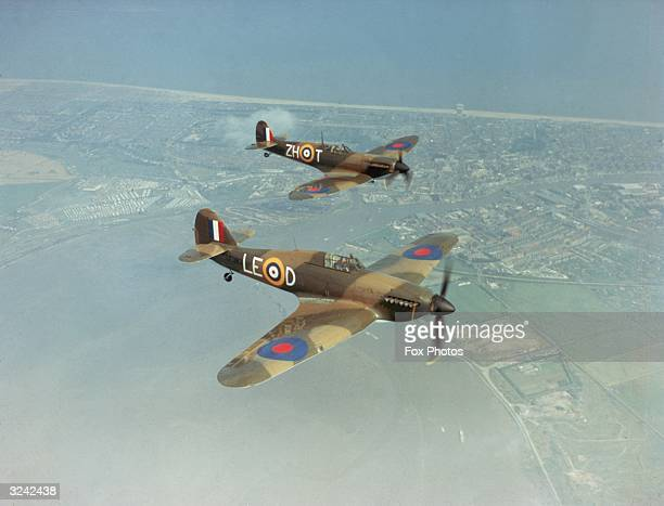 A Hawker Hurricane IIc LF363 and a Supermarine Spitfire IIa P7350 with markings as they appeared in Guy Hamilton's film 'Battle Of Britain' 1969...