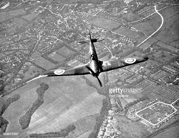 Hawker Hurricane in flight Battle of Britain World War II 1940 A Hawker Hurricane of Fighter Command on its way to intercept German bombers as they...