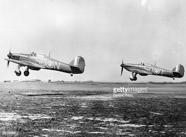 Hawker Hurricane MkI monoplane fighters of No 501 Squadron Royal Auxiliary Air Force take off for another sortie during the Battle of Britain having...