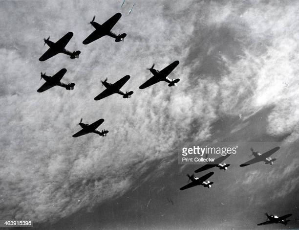 Hawker Hurricanes flying in formation Battle of Britain World War II 1940 Hawker Hurricanes of Fighter Command a first line of defence against the...