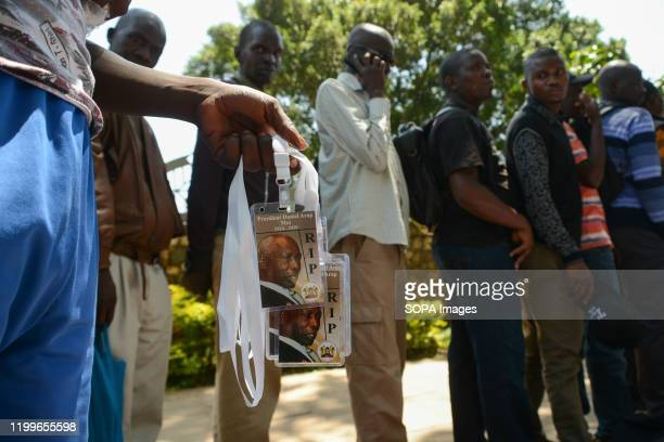 A hawker sells tags bearing portraits of the late Daniel Arap Moi at Parliament building The former President of Kenya died on February 4 2020 while...