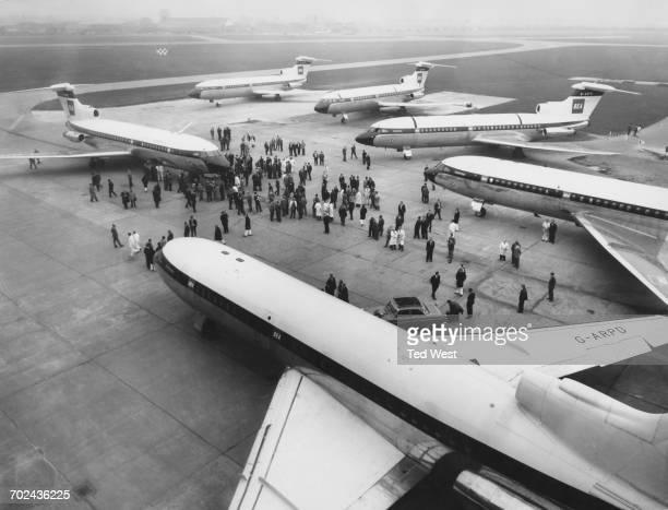 Hawker Siddeley HS 121 Trident 1C mediumrange commercial jet airliners for British European Airways lined up at de Havillands Hatfield Aerodrome...