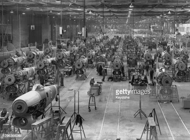 Hawker Typhoon single-seat fighter-bomber ground-attack aircraft under construction for service with Royal Air Force on 1st March 1942 at the Gloster...
