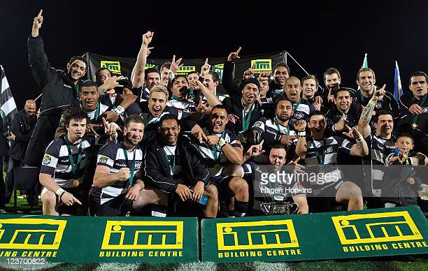 Hawke's Bay celebrate their win during the ITM Cup Championship Final match between Manawatu and Hawke's Bay at FMG Stadium on September 4, 2011 in...
